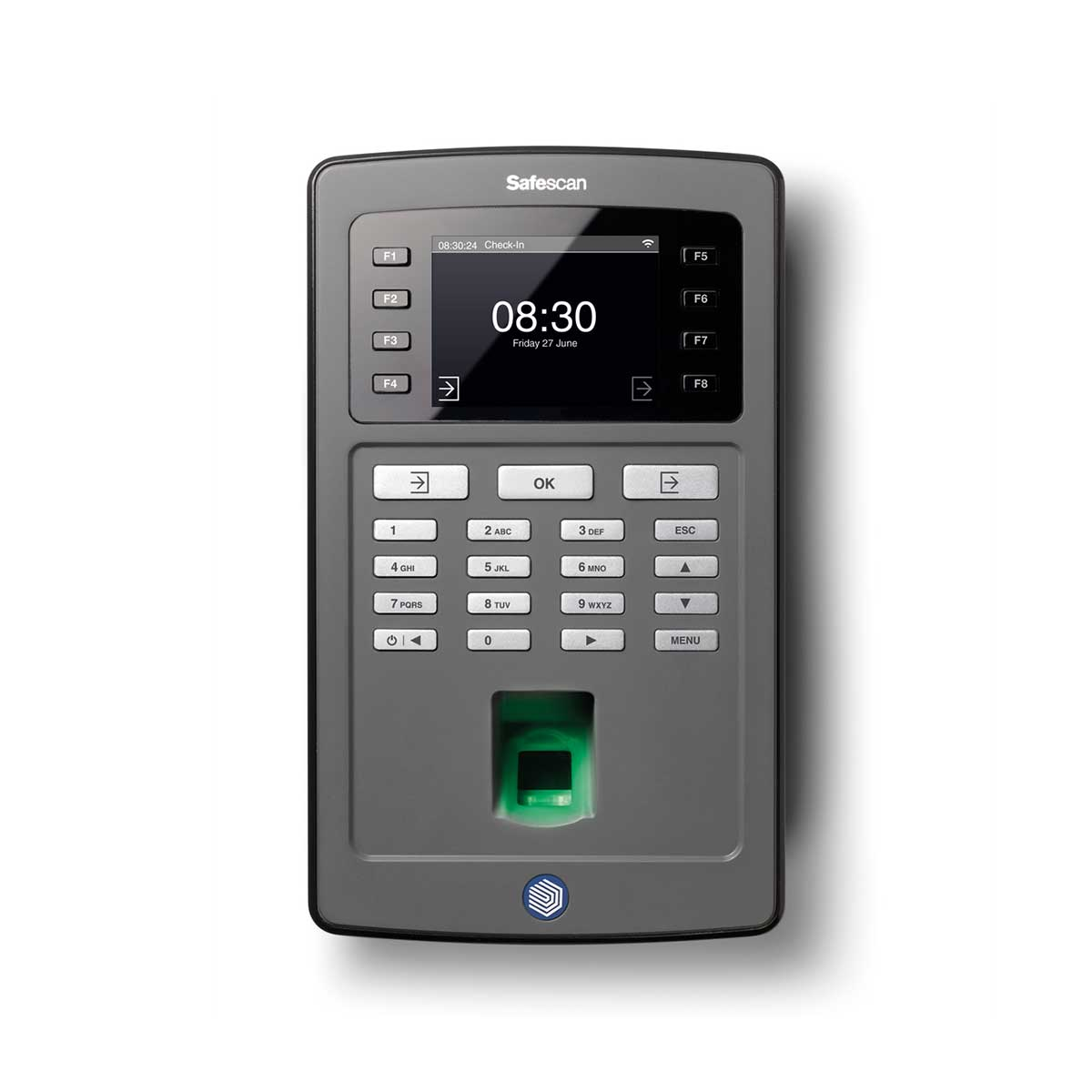 Safescan TA-8025 Time Attendance System and Software with Fingerprint Sensor and Wi-Fi - Black